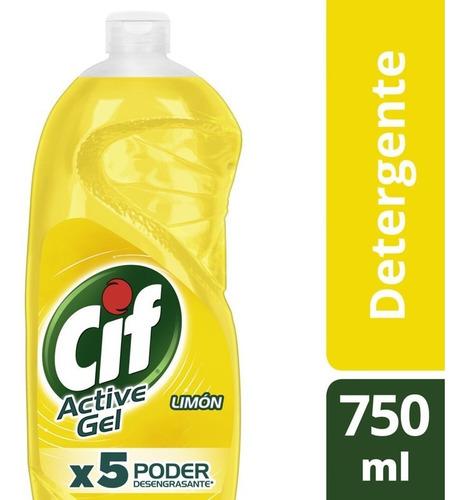 Cif Active Gel Detergente Lavavajilla Limón 750ml