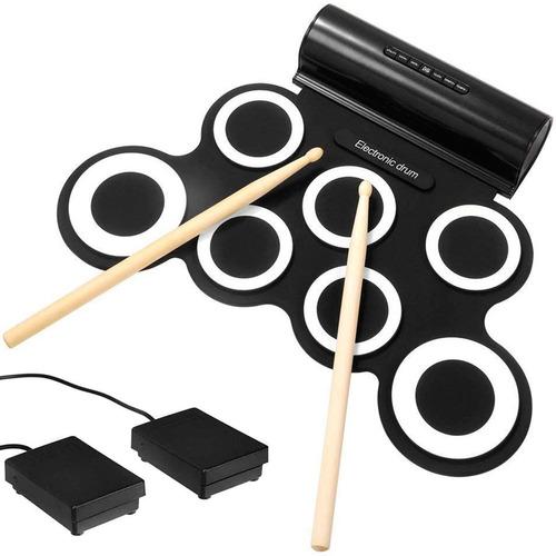 Batería Electrónica Musical Portatil Recargable Con Pedales