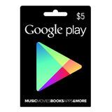 Tarjeta Google Play 5 Usd Original Entrega En Minutos