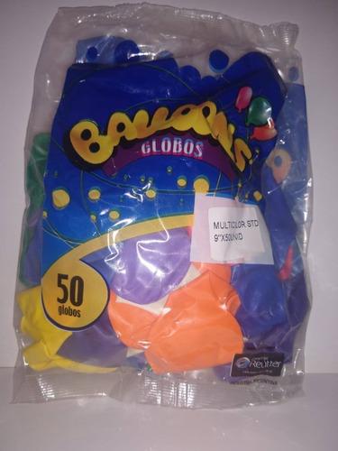 Globos Liso Multicolor 9 Pulgadas X 50 U Decoración