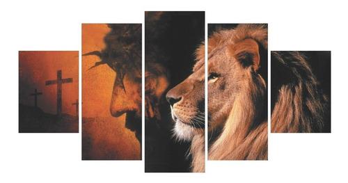 Quadros Decorativos Sala Leão Judá E Jesus + Cruz Religioso