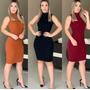 Vestido Feminino Midi Canelado Gola Alta Manga Cavada Moda Original