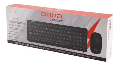 Teclado Inalámbrico Aiwa Home Office + Mouse 1600 Dpi Fc220b