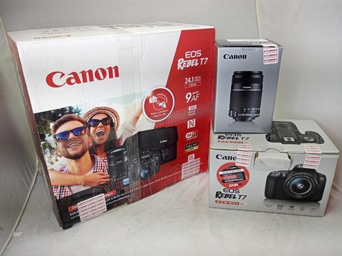 Kit Camara Profecional Canon Rebel T7 -2 Lentes -como Nueva