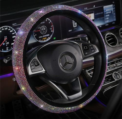 Funda De Volante Acsesorios Para Auto Diamante Cuero Redondo