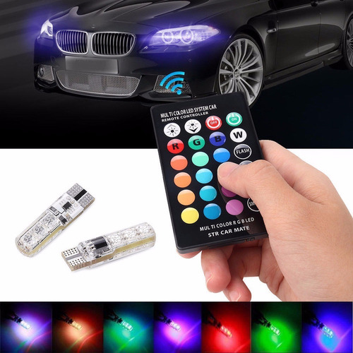 Kit Led Auto T10 Control Remoto 12v Cambia Colores Rgb Luces