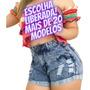 Short Jeans Luxo Feminino Cintura Alta Moda Insta Kit 5 Pçs Original