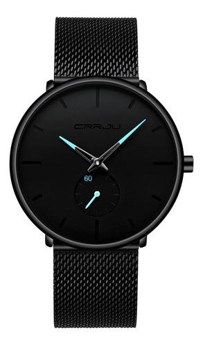 Reloj Negro Hombre Crrju Alta Calidad Detalles Dorado Azul
