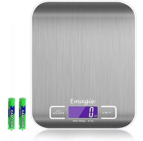Bascula Digital Para Cocina Balanza Acero Inoxidable 5kg