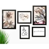 Kit 5 Quadros Decorativos C/ Moldura Abstrato Vintage Flores