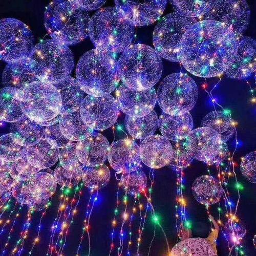 10 Globos Burbuja Cristal Con Luz Transparente Led Luminoso