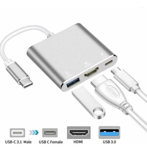 Adaptador Hub 3 En 1 Usb Tipo C A Usb-c Hdmi Usb 3.0 4k Mac