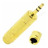 Adaptador Mini Plug 3.5mm A Plug Hembra 6.3mm Stereo Dorado