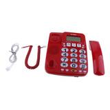 Teléfono Con Cable Con Botón Grande Rojo