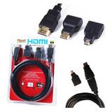 Cable Hdmi 3 En 1 Con Adaptador Mini Y Micro Hdmi 1.5 Metros