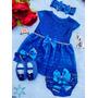Vestido Luxo Rn A 8 Meses Renda Baby Kit 5 Pç Batizado Tiara Original
