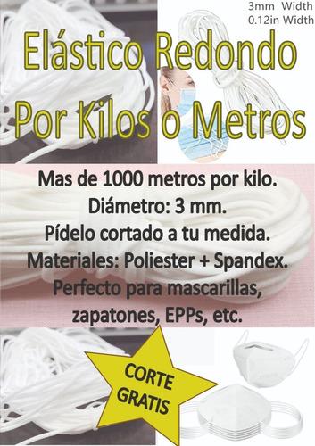Elástico Redondo 3mm  Para Mascarillas (nylon + Spandex)