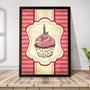 Quadro Decorativo A3 45x35 Com Moldura Gourmet Sweet Cupcake Original