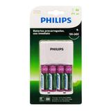 Kit Carregador Pilhas Philips Recarregaveis Aa 2450mah Xbox