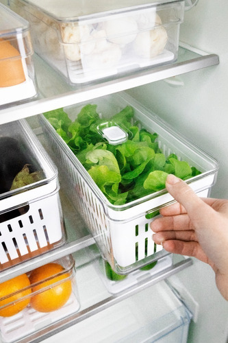 Kit 3 Caixa Organizadora Geladeira Frutas Verduras Legumes