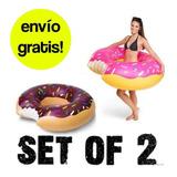 Inflable Flotador Dona Donut Chocolate O Fresa 2 Piezas