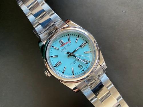 Reloj Rolex Automatico Oyster Perpetual Azul 36mm Plateado