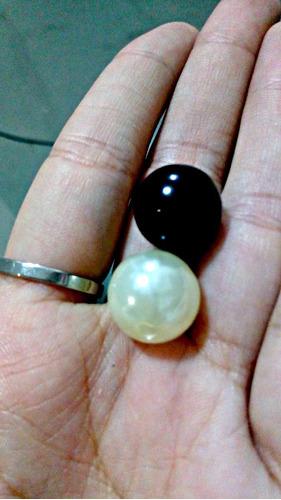100 Perlas 14mm Grandes Color Natural Y O Negras Bolitas