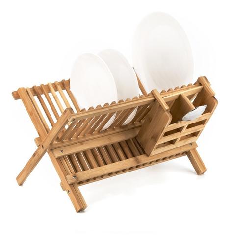 Secador De Platos Begônia Escurridor De Loza De Bambú