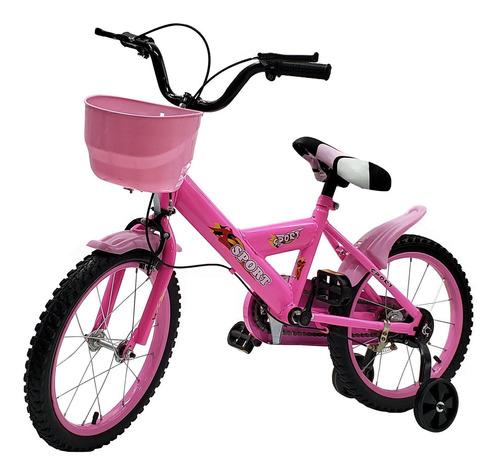 Bicicleta Rodado 16 Con Canasto + Rueditas  Color Rosado - E