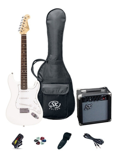 Combo Guitarra Eléctrica Stratocaster Blanca Sx Fe-1