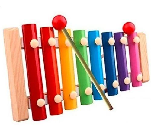 Xilofón En Madera Infantil 8 Teclas Iniciación Musical