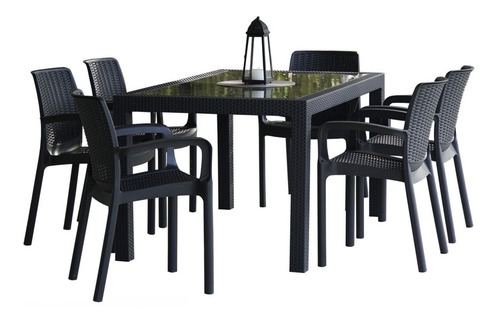 Juego De Jardin Simil Rattan: Mesa Plástica Con Tapa De Vidrio + 6 Sillas Plásticas Apilables - Para Exterior - Voss2000