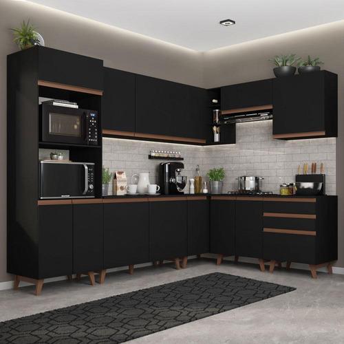 Cozinha Completa De Canto Madesa Reims 462001 Armário Balcão