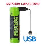 Pila Bateria Litio 18650 Recargable X Micro Usb 3500 Mah.