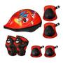 Kit Proteção Iantil Capacete Bike Skate Patins Vermelho Original