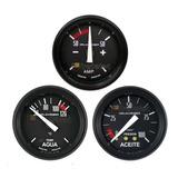 Kit 3 Relojes O Rober Temperatura Presión Aceite Amperímetro