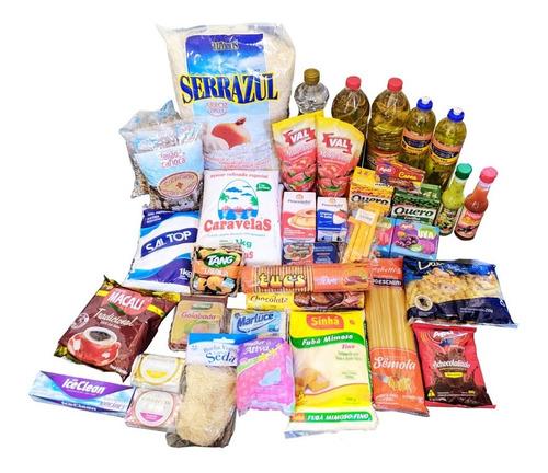 Kit 20 Itens Cesta Básica Grande Alimentos Com 10kg De Arroz