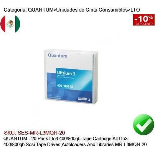 Quantum 20pk Lto3 400/800gb Cinta Respaldo Lto3 Mr-l3mqn-20