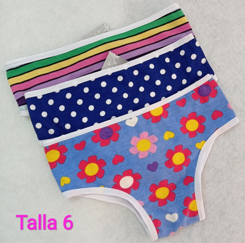 Panties Niña Honey Lingerie Talla 8 Y 6 Paquete *3