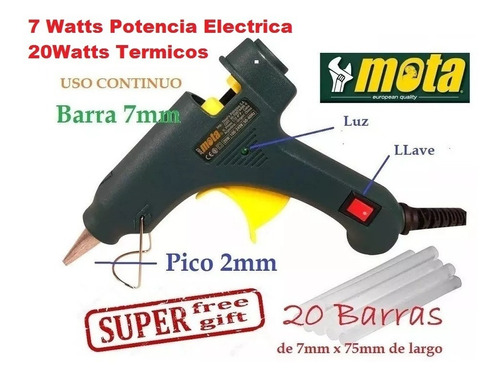 Pistola De Pegar Mota Ju07 20w Barra Chica + Regalo 20bar