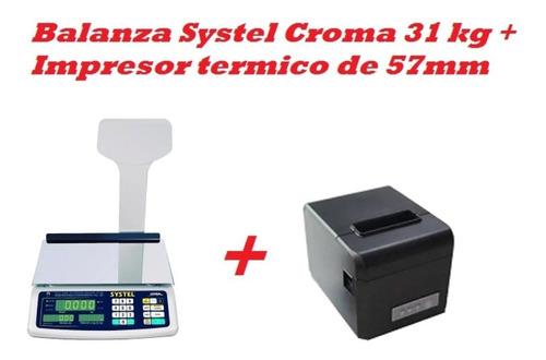 Combo Balanza Croma 31kg + Impresor Termico De 57mm