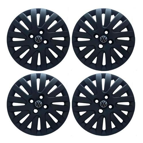Juego X 4 Tasas Volkswagen Gol Trend  Negra Mate Con Logo