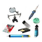 Kit Soldador 60w+soporte Lupa+ Desoldador+ Apoya+estaño+flux
