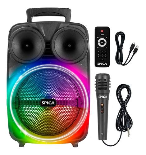 Parlante Spica Sp-4408 Bluetooth Portatil 8 Pulgadas Led Rgb