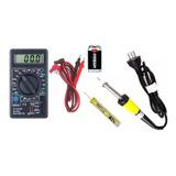 Kit Electronica 4 Pzas Multimetro Bateria 9v Soldador Estaño