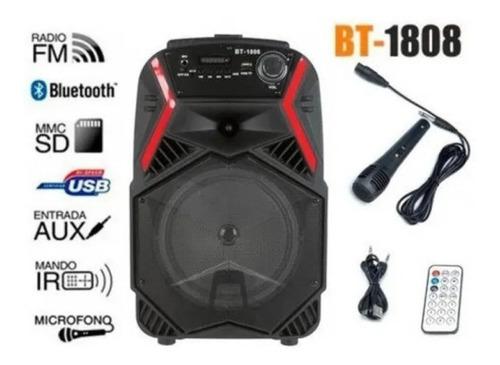 Parlante Bluetooth 30w Karaoke Micrófono Con Ruedas Y Manija