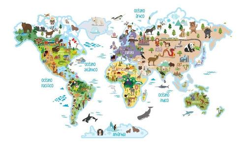 Lona Didactica Mapa Mundi Planisferio Infantil Animales