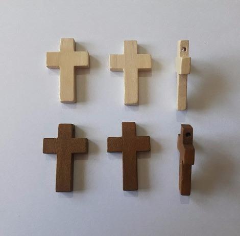 10 Cruces Madera 3,3 Cm X 2,1 Cm Para Denarios Rosarios Cr3
