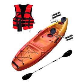 Kayak Wave 1p Con Chaleco Y Remo Ideal Pesca Travesía Kayac