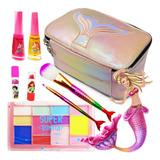 Kit Infantil C/ Maquiagem Maleta + Batom Brilho Esmalte